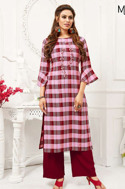 Manas Checks Plazzo Kurti with Palazzo Wholesale Catalog 8 Pcs - Manas Checks Plazzo Kurti with Palazzo Wholesale Catalog 8 Pcs
