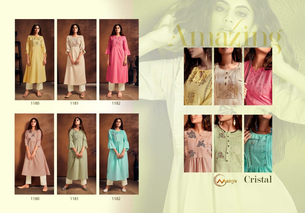 Manya Cristal Kurti with Pant Wholesale Catalog 6 Pcs 8 - Manya Cristal Kurti with Pant Wholesale Catalog 6 Pcs