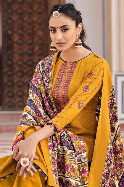 Mumtaz Arts Jamdani Pashmina Salwar Suit Wholesale Catalog 10 Pcs