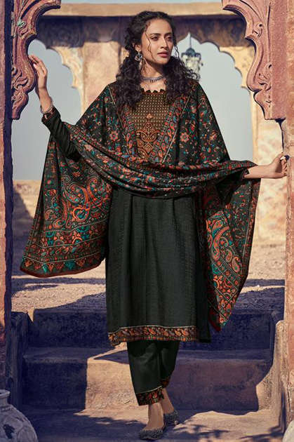 Mumtaz Arts Shikargah Pashmina Salwar Suit Wholesale Catalog 5 Pcs