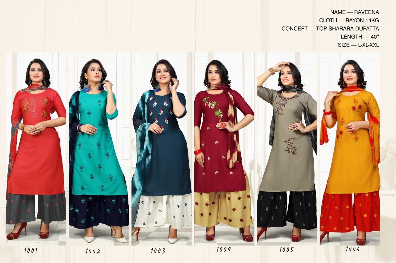 SS Raveena Kurti with Dupatta Sharara Wholesale Catalog 6 Pcs 7 - SS Raveena Kurti with Dupatta Sharara Wholesale Catalog 6 Pcs