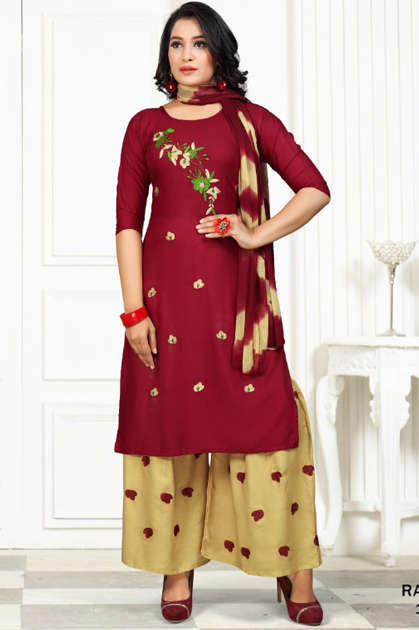 SS Raveena Kurti with Dupatta Sharara Wholesale Catalog 6 Pcs