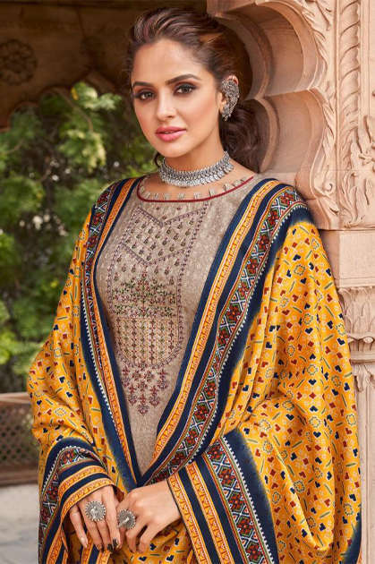 Shahnaz Arts Patola Pashmina Salwar Suit Wholesale Catalog 8 Pcs