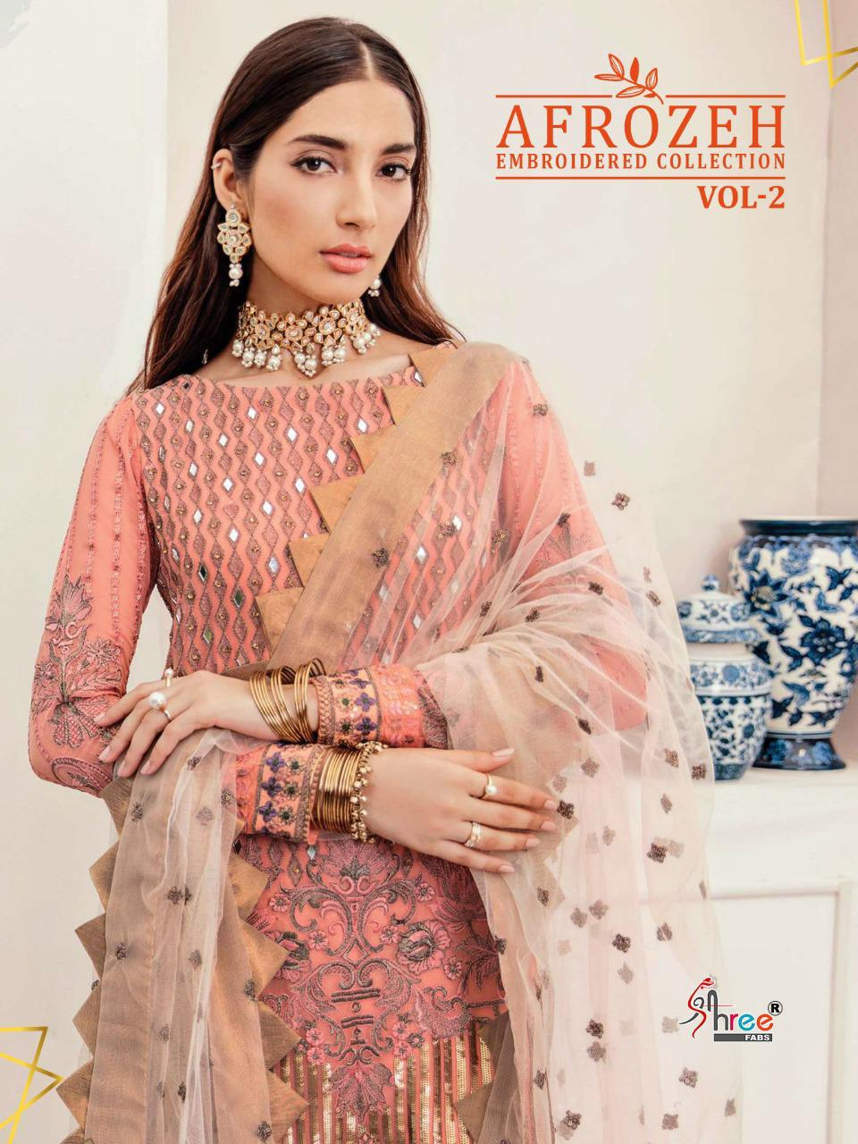Shree Fabs Afrozeh Embroidered Collection Vol 2 Salwar Suit Wholesale Catalog 6 Pcs 1 - Shree Fabs Afrozeh Embroidered Collection Vol 2 Salwar Suit Wholesale Catalog 6 Pcs