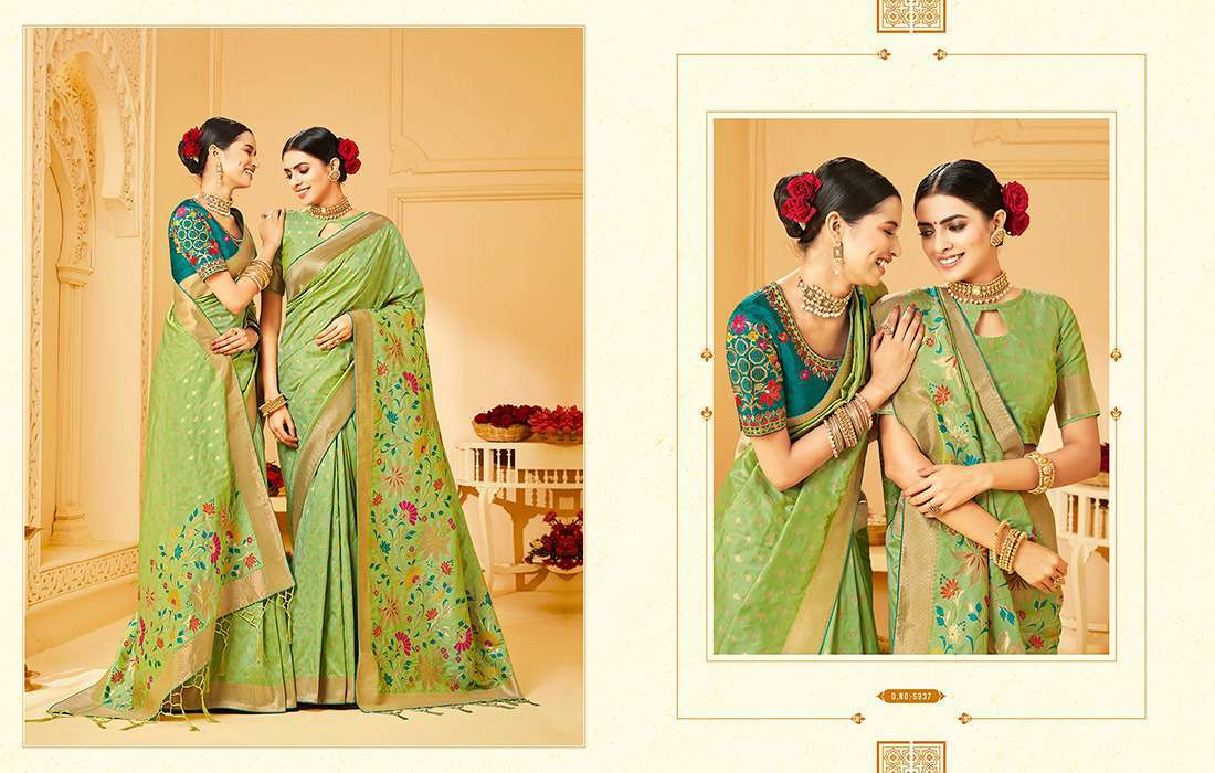 Kessi Shubh Manglam Double Blouse Saree Sari Wholesale Catalog 10 Pcs 11 - Kessi Shubh Manglam Double Blouse Saree Sari Wholesale Catalog 10 Pcs