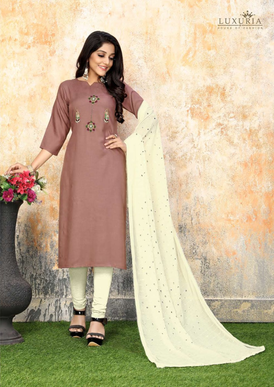 Luxuria Sathiya Kurti with Dupatta Wholesale Catalog 4 Pcs 2 - Luxuria Sathiya Kurti with Dupatta Wholesale Catalog 4 Pcs