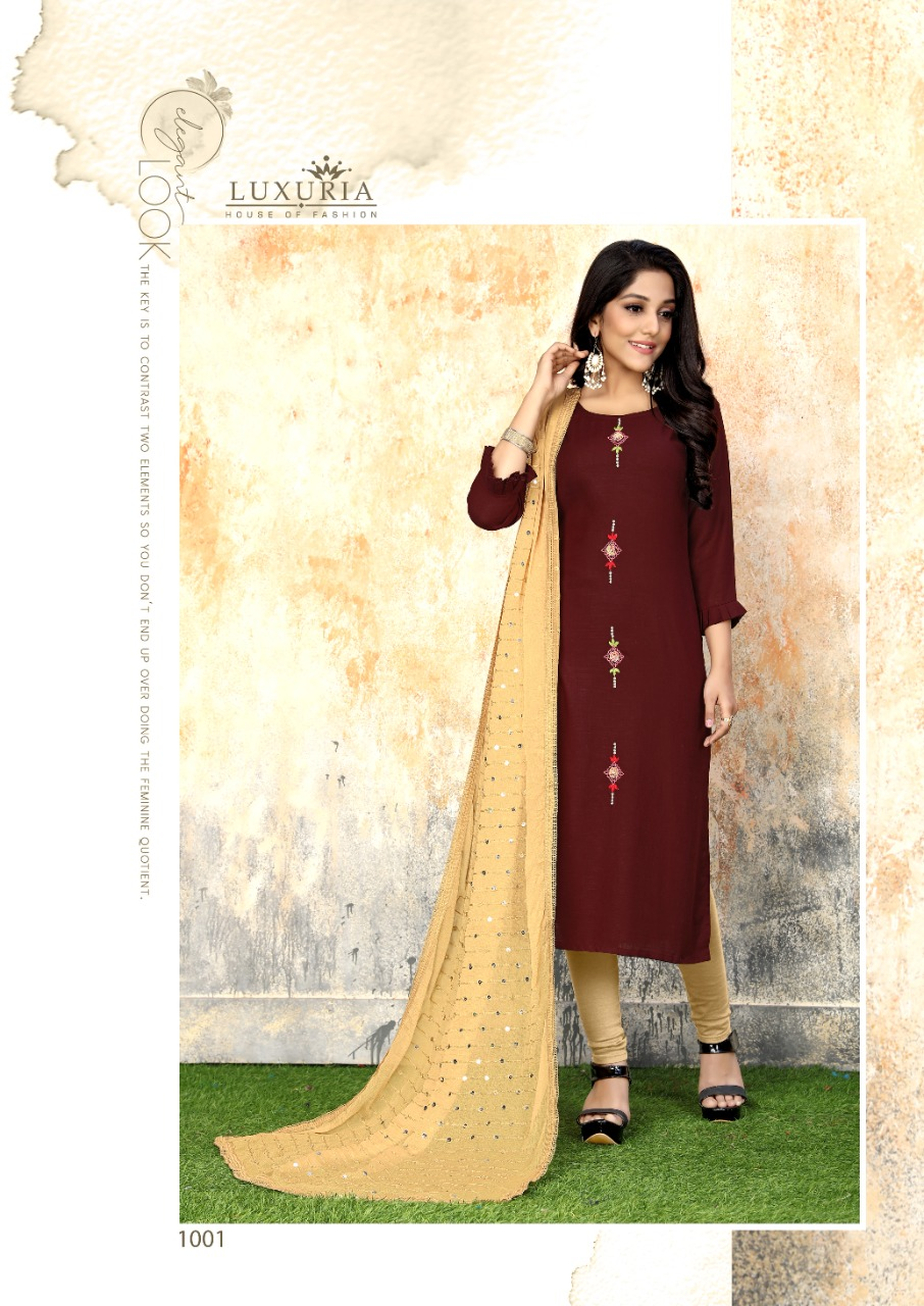 Luxuria Sathiya Kurti with Dupatta Wholesale Catalog 4 Pcs 3 - Luxuria Sathiya Kurti with Dupatta Wholesale Catalog 4 Pcs