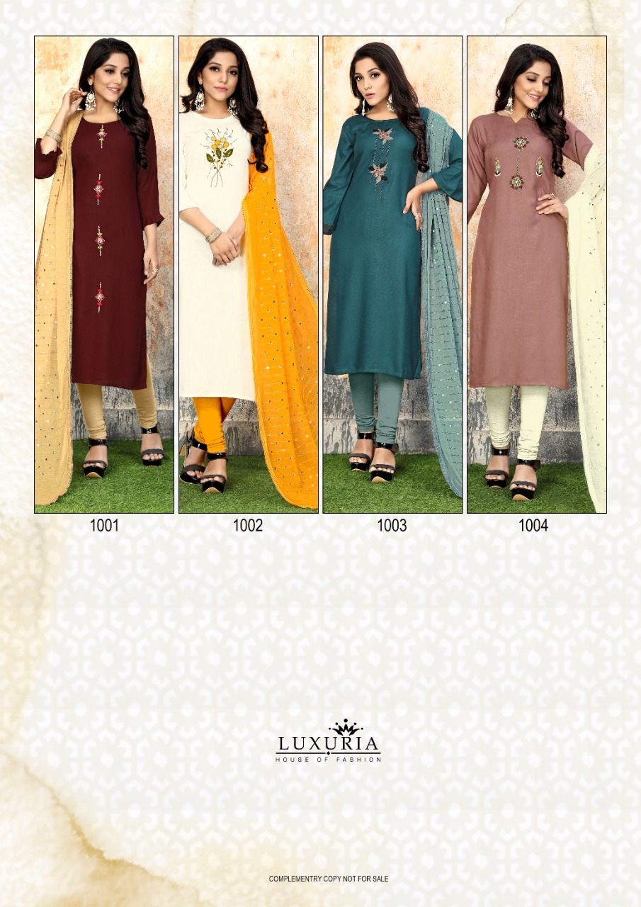 Luxuria Sathiya Kurti with Dupatta Wholesale Catalog 4 Pcs 8 - Luxuria Sathiya Kurti with Dupatta Wholesale Catalog 4 Pcs