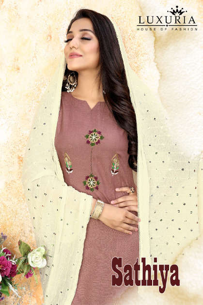 Luxuria Sathiya Kurti with Dupatta Wholesale Catalog 4 Pcs - Luxuria Sathiya Kurti with Dupatta Wholesale Catalog 4 Pcs
