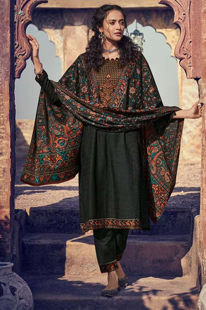 Mumtaz Arts Shikargah Black Hit Pashmina Salwar Suit Wholesale Catalog 3 Pcs