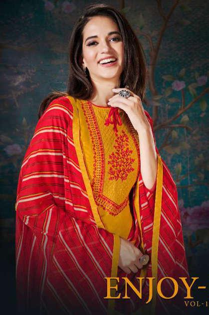 Fashion Floor Enjoy Vol 3 Salwar Suit Wholesale Catalog 12 Pcs