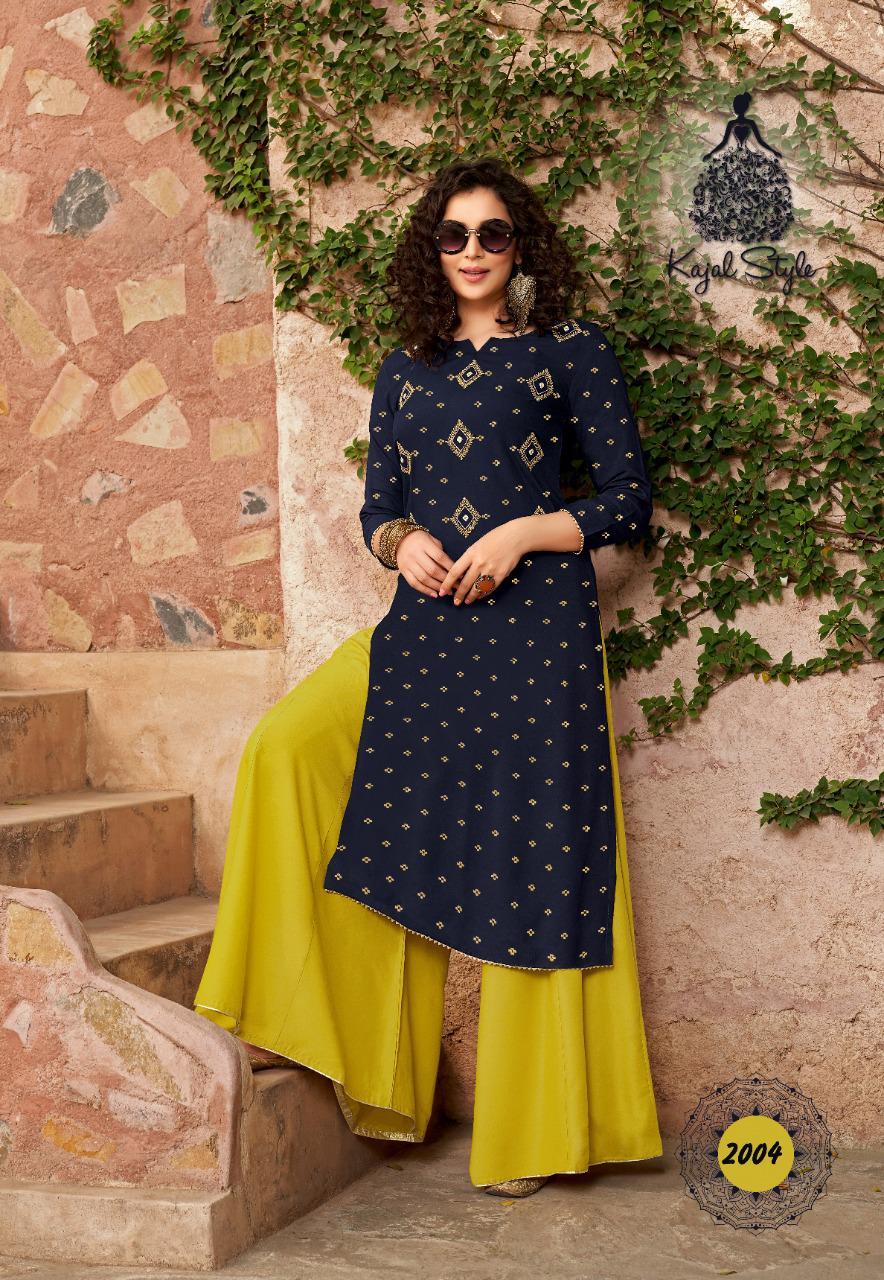 Kajal Style Fashion Galaxy Vol 2 Kurti with Palazzo Pant Sharara Wholesale Catalog 6 Pcs 6 - Kajal Style Fashion Galaxy Vol 2 Kurti with Palazzo Pant Sharara Wholesale Catalog 6 Pcs
