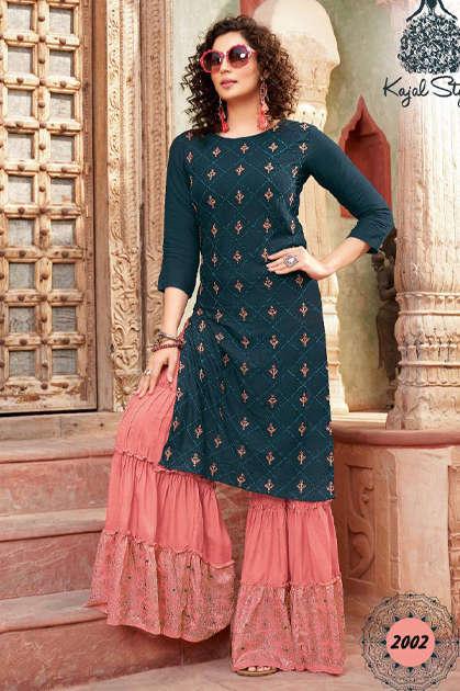 Kajal Style Fashion Galaxy Vol 2 Kurti with Palazzo Pant Sharara Wholesale Catalog 6 Pcs - Kajal Style Fashion Galaxy Vol 2 Kurti with Palazzo Pant Sharara Wholesale Catalog 6 Pcs