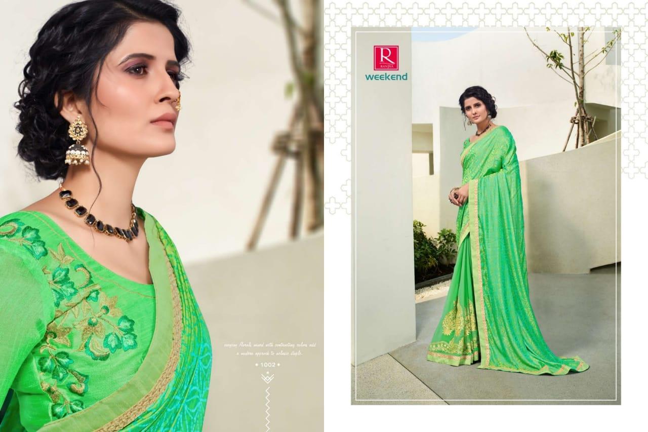 Ranjna Weekend Saree Sari Wholesale Catalog 6 Pcs 2 - Ranjna Weekend Saree Sari Wholesale Catalog 6 Pcs