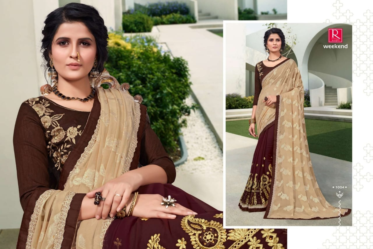 Ranjna Weekend Saree Sari Wholesale Catalog 6 Pcs 3 - Ranjna Weekend Saree Sari Wholesale Catalog 6 Pcs