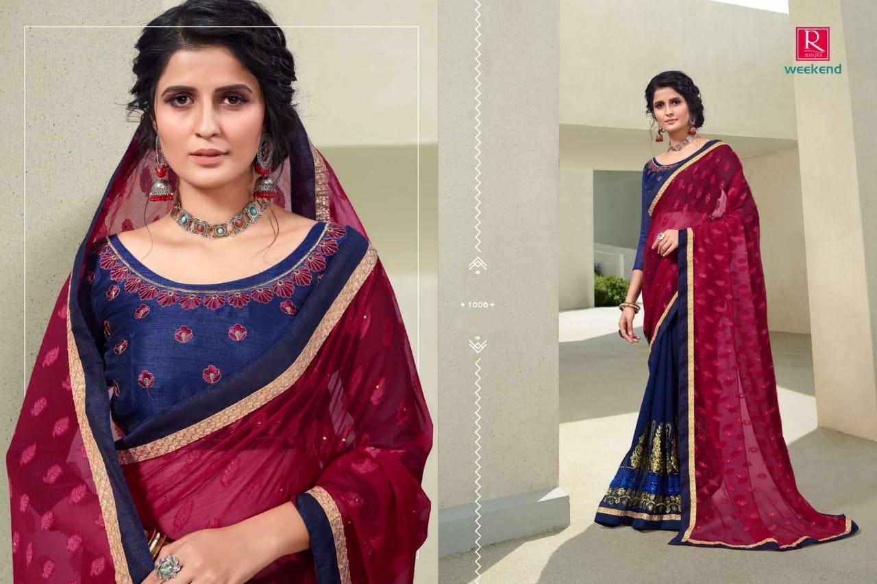 Ranjna Weekend Saree Sari Wholesale Catalog 6 Pcs 8 - Ranjna Weekend Saree Sari Wholesale Catalog 6 Pcs