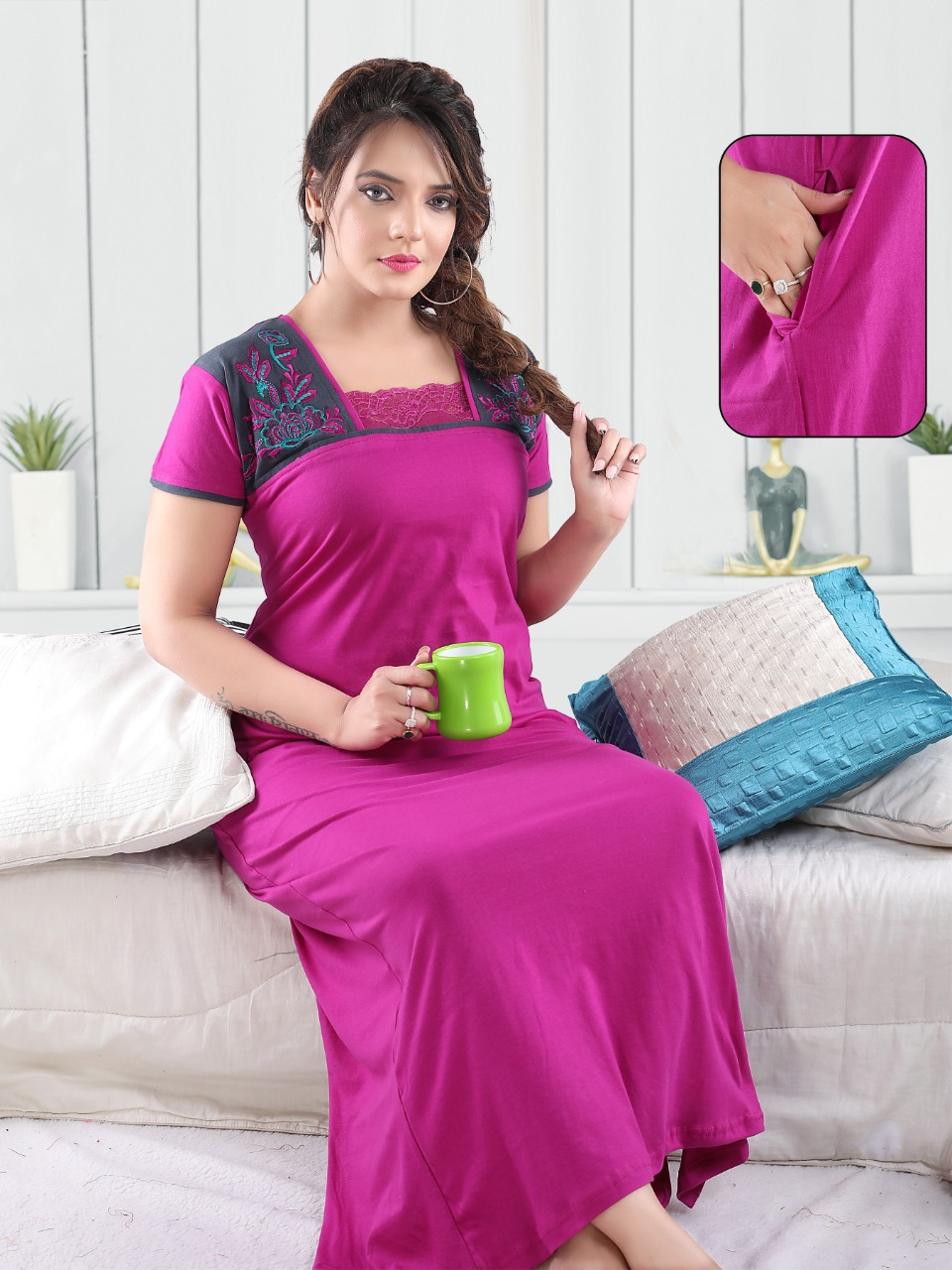 Vassu Vol 4 Nighty Wholesale Catalog 6 Pcs 2 - Vassu Vol 4 Nighty Wholesale Catalog 6 Pcs