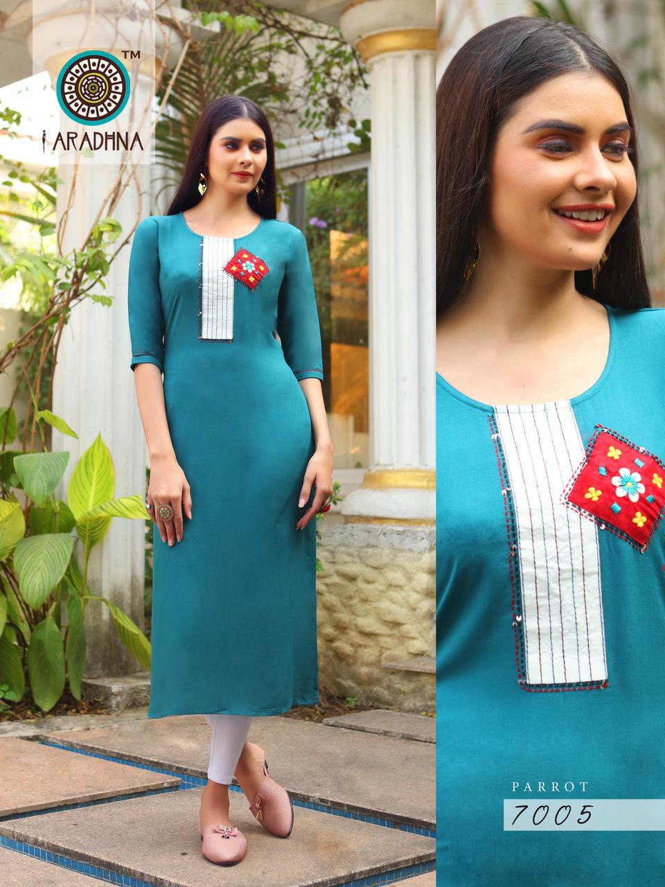 Aradhna Parrot Vol 7 Kurti Wholesale Catalog 11 Pcs 18 - Aradhna Parrot Vol 7 Kurti Wholesale Catalog 11 Pcs