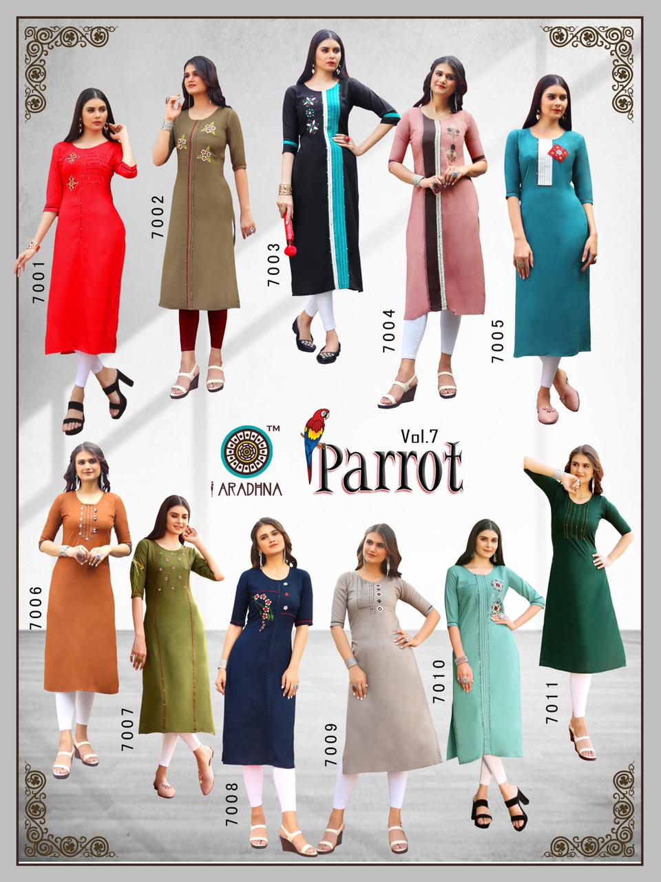 Aradhna Parrot Vol 7 Kurti Wholesale Catalog 11 Pcs 20 - Aradhna Parrot Vol 7 Kurti Wholesale Catalog 11 Pcs