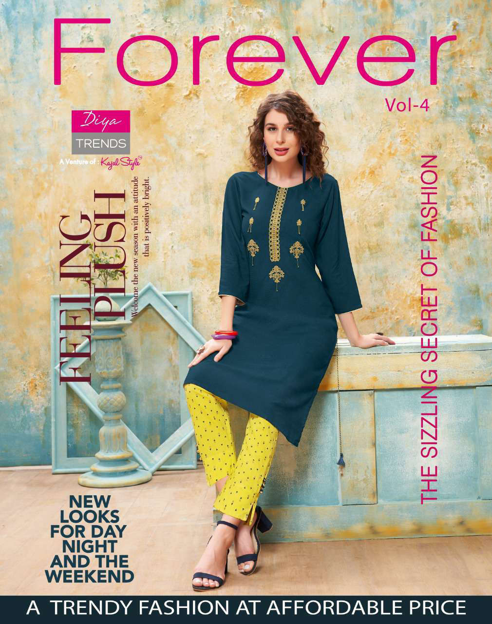 Diya Trends Forever Vol 4 by Kajal Style Kurti with Pant Wholesale Catalog 12 Pcs 1 - Diya Trends Forever Vol 4 by Kajal Style Kurti with Pant Wholesale Catalog 12 Pcs