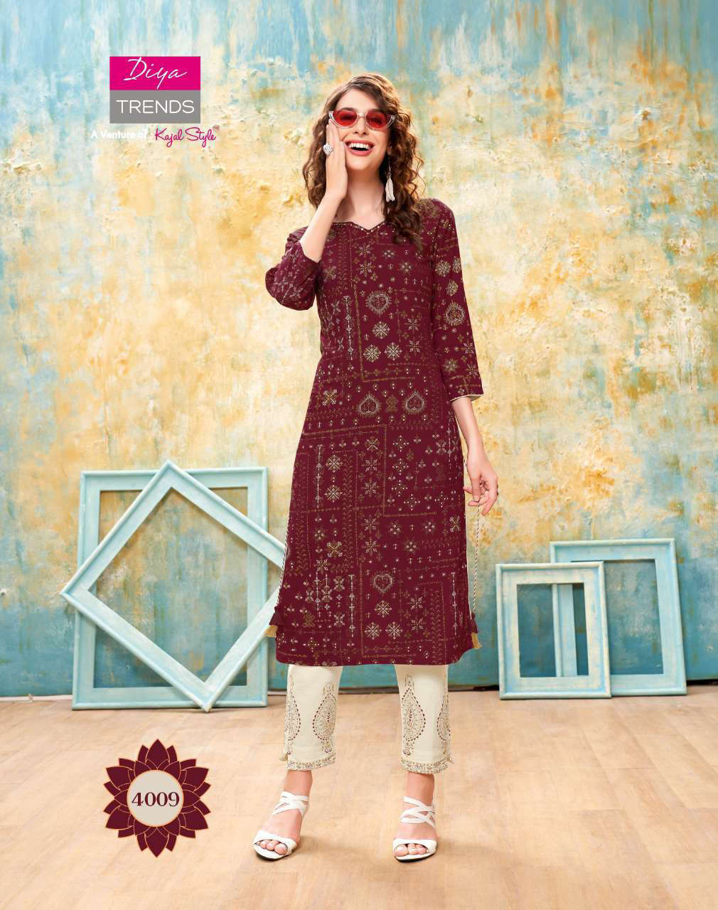 Diya Trends Forever Vol 4 by Kajal Style Kurti with Pant Wholesale Catalog 12 Pcs 10 - Diya Trends Forever Vol 4 by Kajal Style Kurti with Pant Wholesale Catalog 12 Pcs