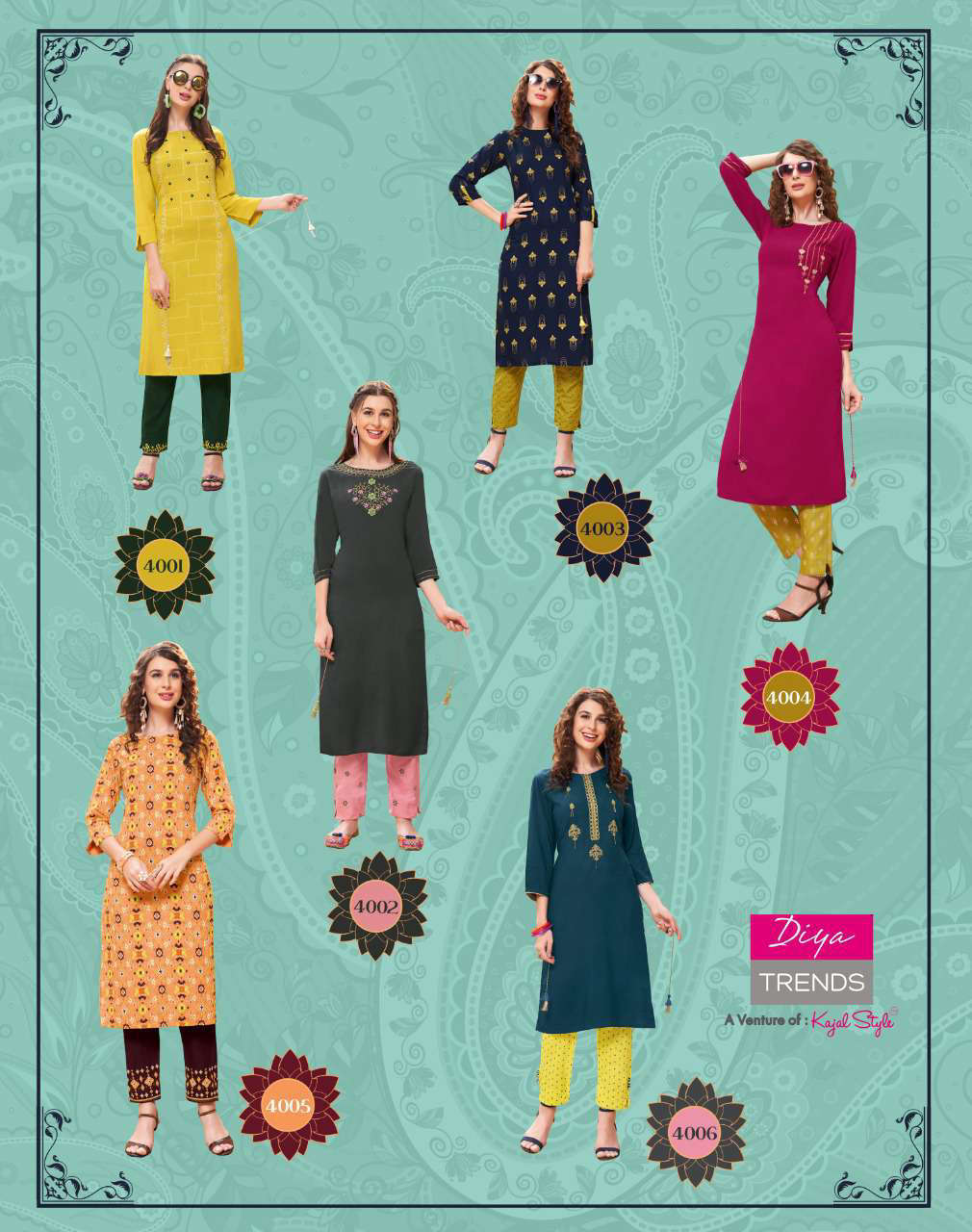 Diya Trends Forever Vol 4 by Kajal Style Kurti with Pant Wholesale Catalog 12 Pcs 14 - Diya Trends Forever Vol 4 by Kajal Style Kurti with Pant Wholesale Catalog 12 Pcs