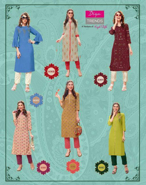 Diya Trends Forever Vol 4 by Kajal Style Kurti with Pant Wholesale Catalog 12 Pcs 15 510x646 - Diya Trends Forever Vol 4 by Kajal Style Kurti with Pant Wholesale Catalog 12 Pcs