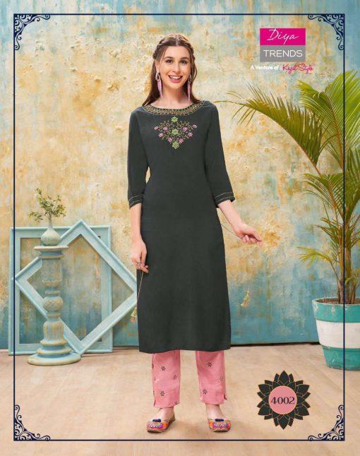 Diya Trends Forever Vol 4 by Kajal Style Kurti with Pant Wholesale Catalog 12 Pcs 3 510x646 - Diya Trends Forever Vol 4 by Kajal Style Kurti with Pant Wholesale Catalog 12 Pcs