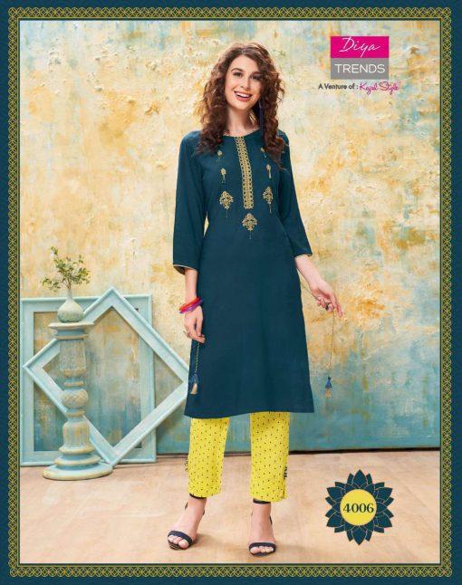 Diya Trends Forever Vol 4 by Kajal Style Kurti with Pant Wholesale Catalog 12 Pcs 7 510x646 - Diya Trends Forever Vol 4 by Kajal Style Kurti with Pant Wholesale Catalog 12 Pcs