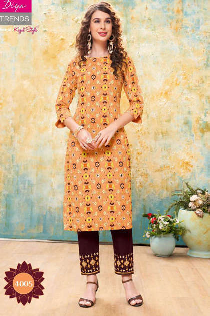 Diya Trends Forever Vol 4 by Kajal Style Kurti with Pant Wholesale Catalog 12 Pcs
