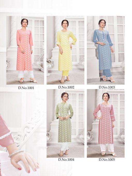 Hazzel Schiffli Lucknowi Kurti with Pant Wholesale Catalog 5 Pcs 8 510x680 - Hazzel Schiffli Lucknowi Kurti with Pant Wholesale Catalog 5 Pcs
