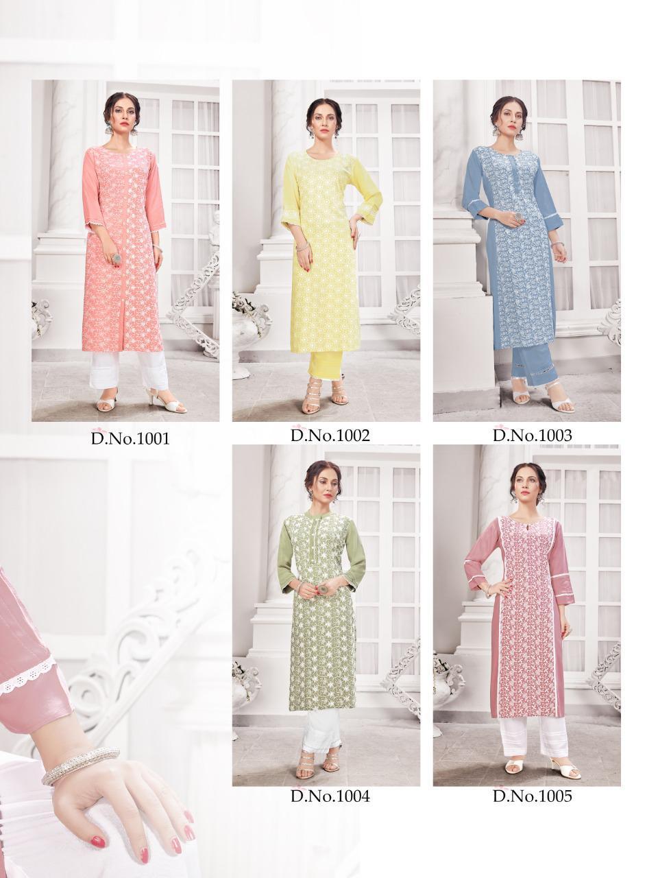 Hazzel Schiffli Lucknowi Kurti with Pant Wholesale Catalog 5 Pcs 8 - Hazzel Schiffli Lucknowi Kurti with Pant Wholesale Catalog 5 Pcs