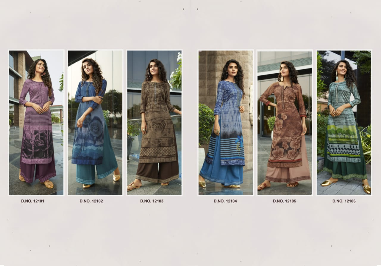 Kivi Fashion Fiesta Vol 4 by Kajree Kurti with Palazzo Wholesale Catalog 6 Pcs 9 - Kivi Fashion Fiesta Vol 4 by Kajree Kurti with Palazzo Wholesale Catalog 6 Pcs