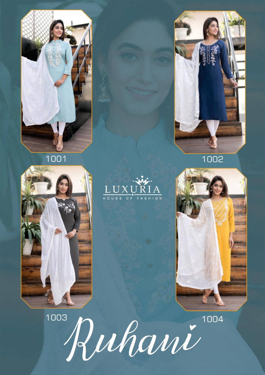 Luxuria Ruhani Kurti with Dupatta Wholesale Catalog 4 Pcs 11 - Luxuria Ruhani Kurti with Dupatta Wholesale Catalog 4 Pcs