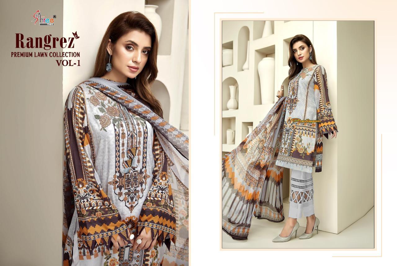 Shree Fabs Rangrez Lawn Premium Collection Vol 1 Salwar Suit Wholesale Catalog 6 Pcs 10 - Shree Fabs Rangrez Premium Lawn Collection Vol 1 Salwar Suit Wholesale Catalog 6 Pcs