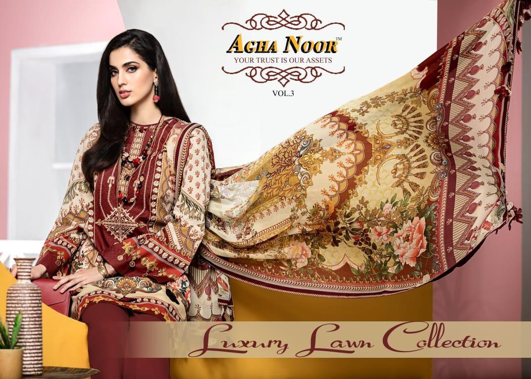 Agha Noor Vol 3 Luxury Lawn Collection Salwar Suit Wholesale Catalog 10 Pcs 1 - Agha Noor Vol 3 Luxury Lawn Collection Salwar Suit Wholesale Catalog 10 Pcs