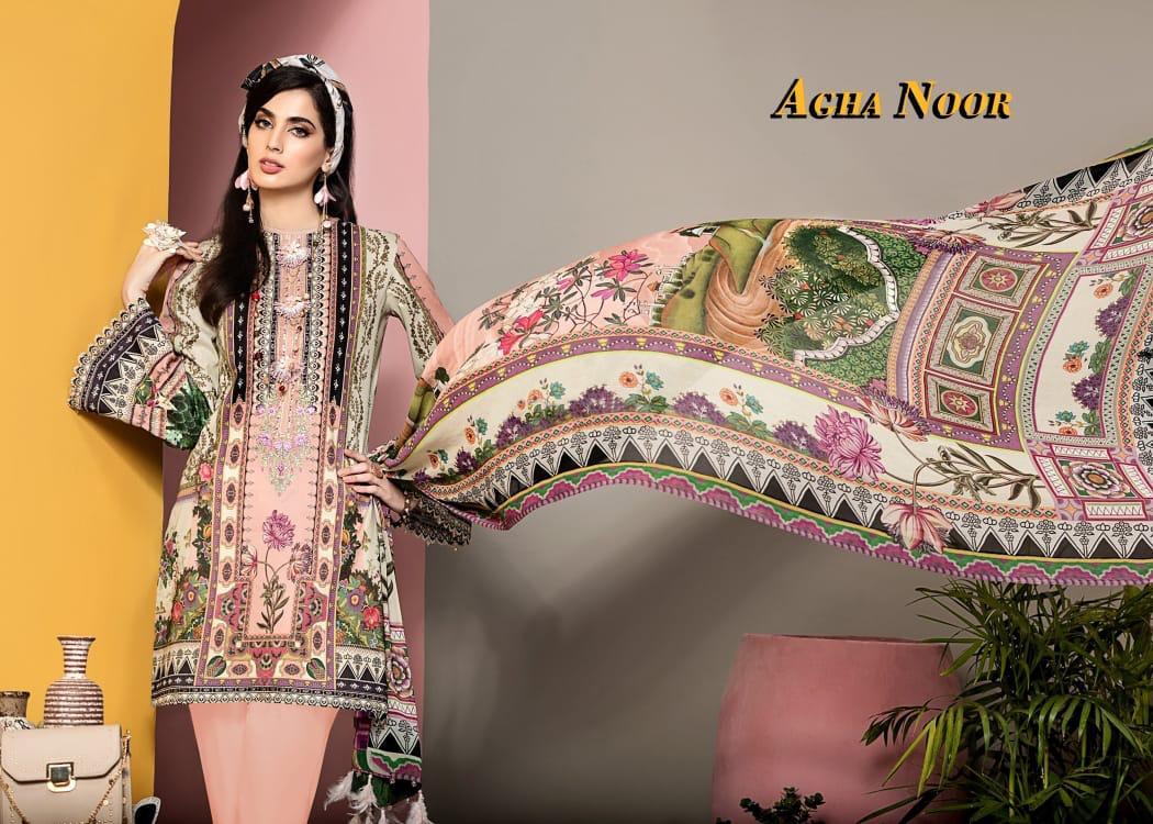 Agha Noor Vol 3 Luxury Lawn Collection Salwar Suit Wholesale Catalog 10 Pcs 13 - Agha Noor Vol 3 Luxury Lawn Collection Salwar Suit Wholesale Catalog 10 Pcs