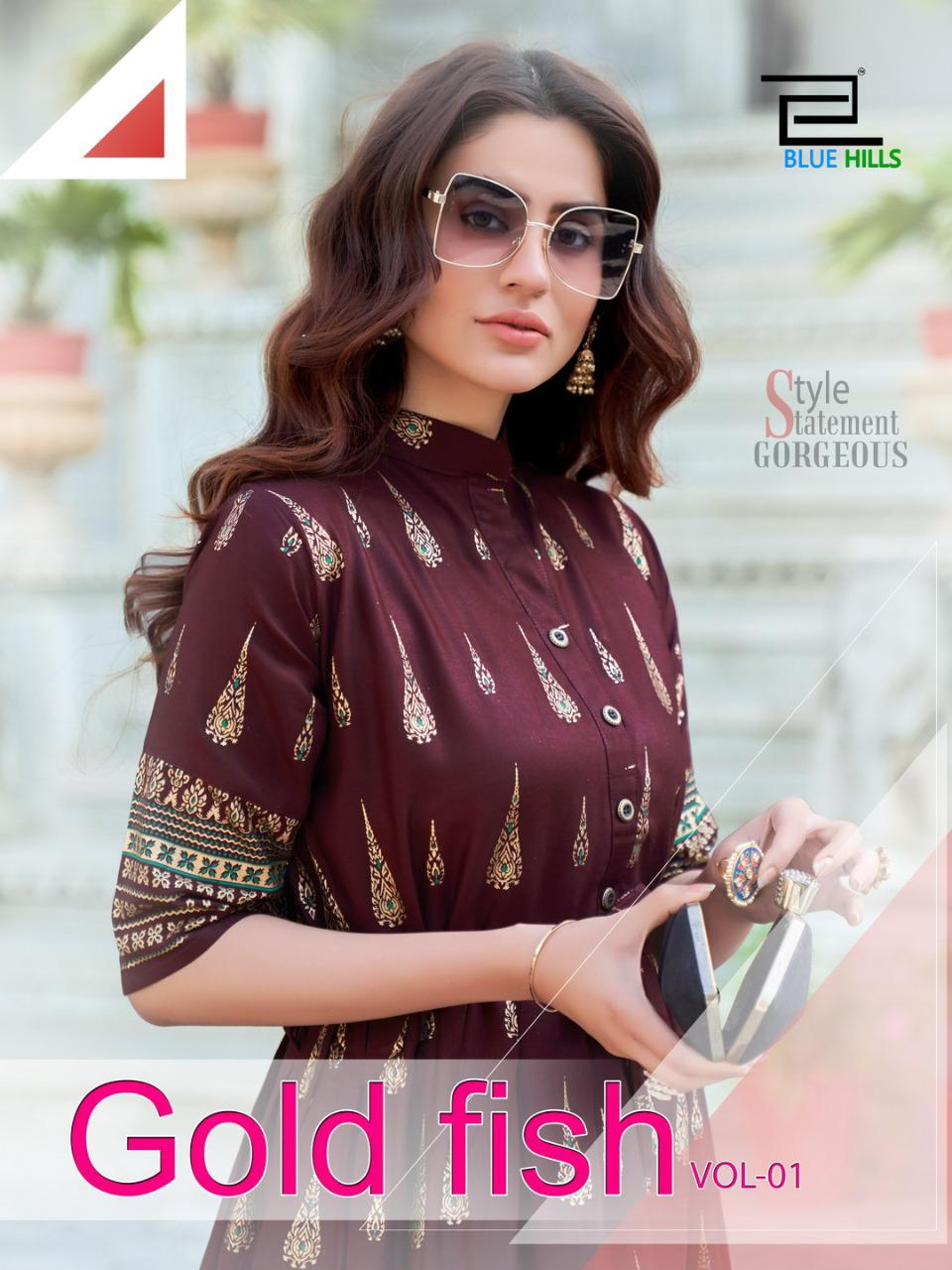 Blue Hills Gold Fish Kurti Wholesale Catalog 4 Pcs 12 - Blue Hills Gold Fish Kurti Wholesale Catalog 4 Pcs