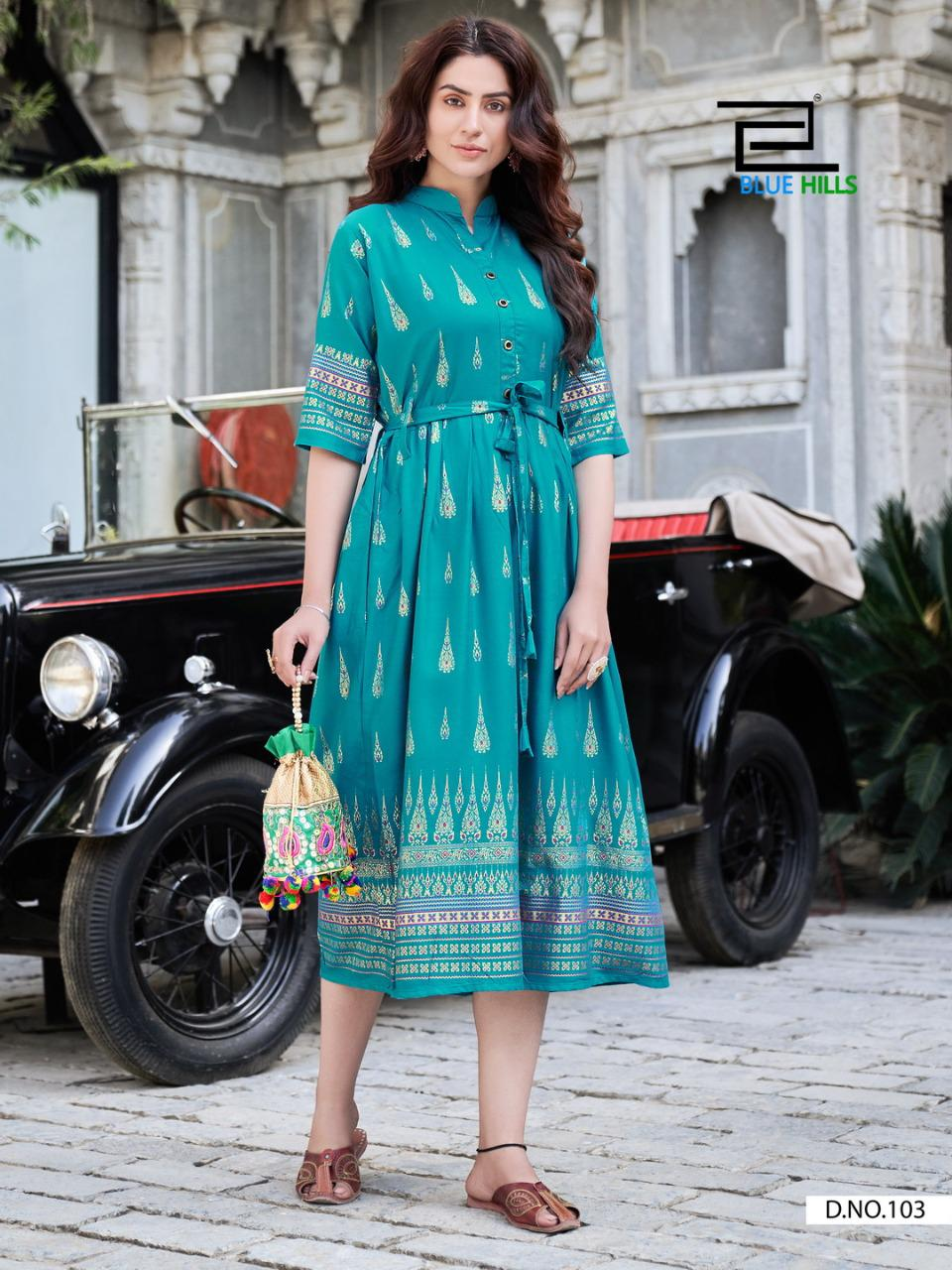 Blue Hills Gold Fish Kurti Wholesale Catalog 4 Pcs 5 - Blue Hills Gold Fish Kurti Wholesale Catalog 4 Pcs