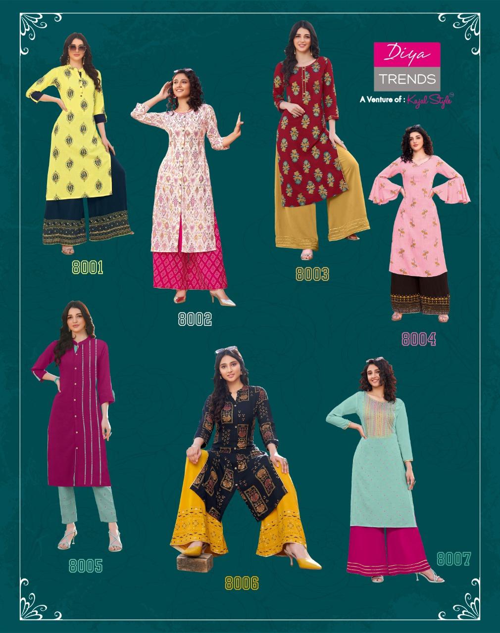 Diya Trends Bibas Vol 8 by Kajal Style Kurti with Palazzo Pant Wholesale Catalog 14 Pcs 14 - Diya Trends Biba's Vol 8 by Kajal Style Kurti with Palazzo Pant Wholesale Catalog 14 Pcs
