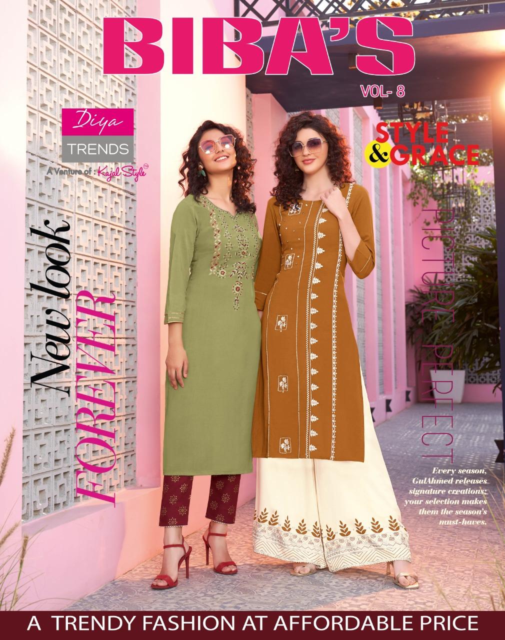 Diya Trends Bibas Vol 8 by Kajal Style Kurti with Palazzo Pant Wholesale Catalog 14 Pcs 7 - Diya Trends Biba's Vol 8 by Kajal Style Kurti with Palazzo Pant Wholesale Catalog 14 Pcs