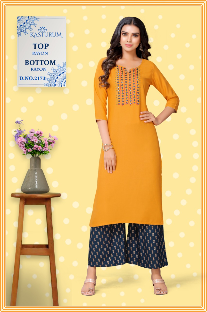 Kasturam by Kajal Style Kurti Palazzo Pant Wholesale Catalog 10 Pcs 8 - Kasturam by Kajal Style Kurti with Palazzo Pant Wholesale Catalog 10 Pcs