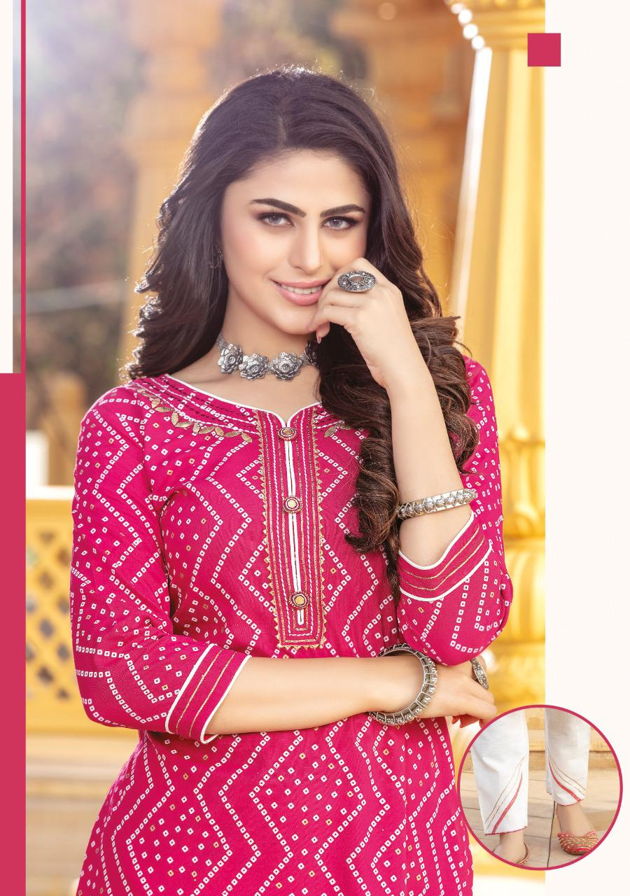 Kiana Bandhani Vol 2 Kurti with Pant Wholesale Catalog 8 Pcs 11 - Kiana Bandhani Vol 2 Kurti with Pant Wholesale Catalog 8 Pcs