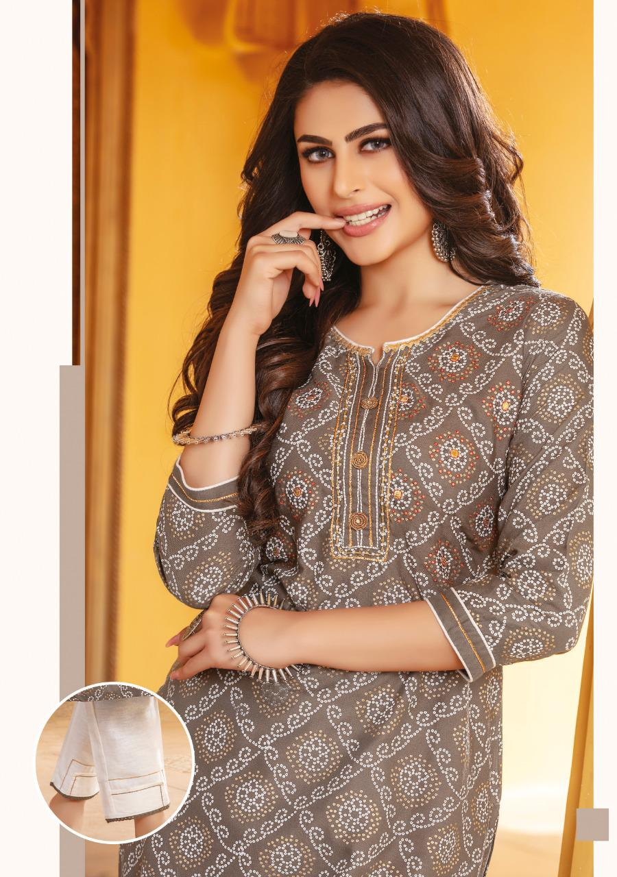 Kiana Bandhani Vol 2 Kurti with Pant Wholesale Catalog 8 Pcs 17 - Kiana Bandhani Vol 2 Kurti with Pant Wholesale Catalog 8 Pcs