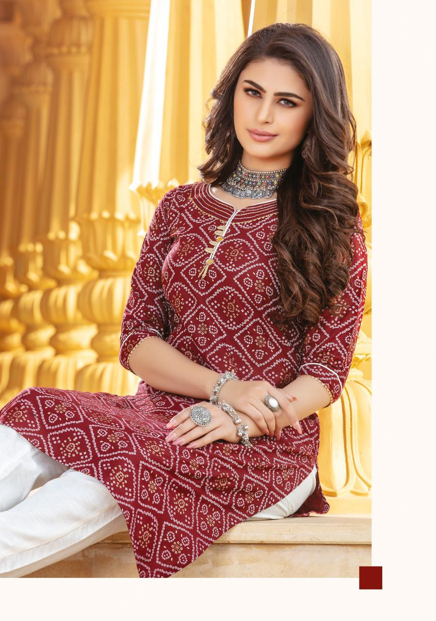 Kiana Bandhani Vol 2 Kurti with Pant Wholesale Catalog 8 Pcs 7 - Kiana Bandhani Vol 2 Kurti with Pant Wholesale Catalog 8 Pcs