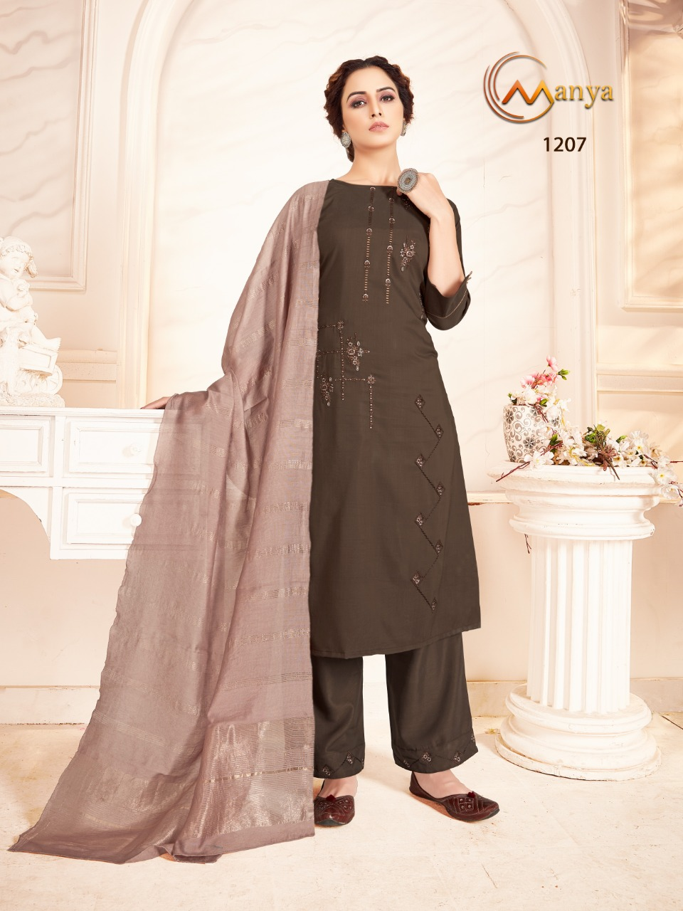 Manya Shine Kurti with Dupatta Bottom Wholesale Catalog 6 Pcs 5 - Manya Shine Kurti with Dupatta Bottom Wholesale Catalog 6 Pcs
