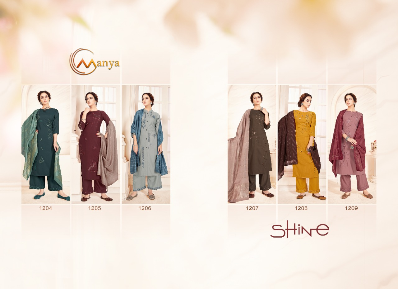 Manya Shine Kurti with Dupatta Bottom Wholesale Catalog 6 Pcs 6 - Manya Shine Kurti with Dupatta Bottom Wholesale Catalog 6 Pcs