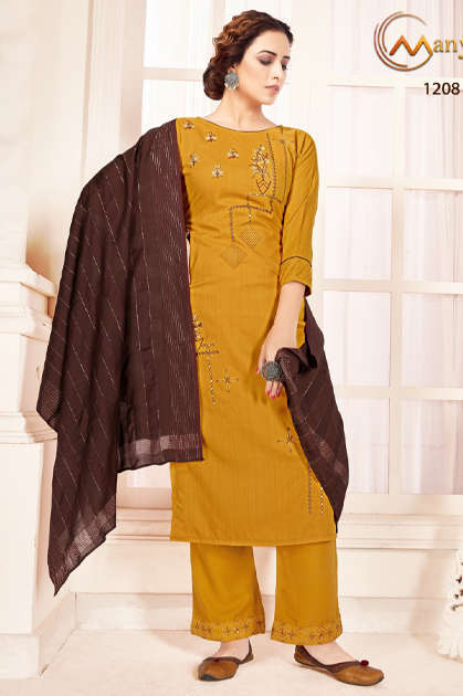 Manya Shine Kurti with Dupatta Bottom Wholesale Catalog 6 Pcs