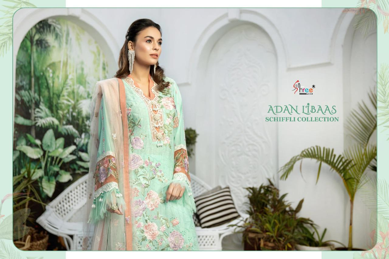 Shree Fabs Adan Libaas Schiffli Collection Salwar Suit Wholesale Catalog 5 Pcs 5 - Shree Fabs Adan Libaas Schiffli Collection Salwar Suit Wholesale Catalog 5 Pcs