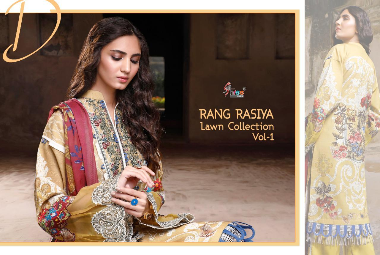 Shree Fabs Rang Rasiya Lawn Collection Vol 1 Salwar Suit Wholesale Catalog 7 Pcs 11 - Shree Fabs Rang Rasiya Lawn Collection Vol 1 Salwar Suit Wholesale Catalog 7 Pcs